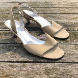 J Crew Suede champagne slingback heels Size 7